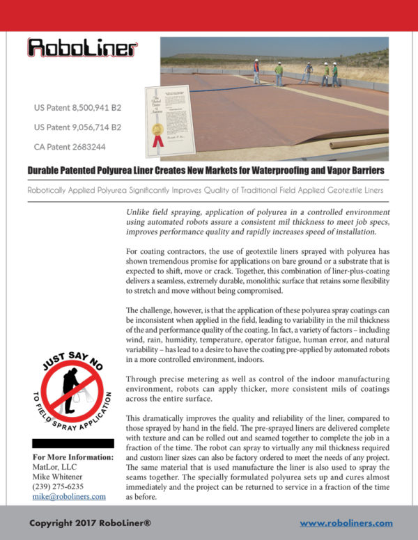 Durable Patented Polyurea Liner Creates New Markets for Waterproofing and Vapor Barriers